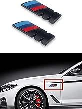 M Power Badge Tri Color Rear Emblem Fender Side Emblem Car Decal Logo Sticker for B M W Accessories-2pcs(black)
