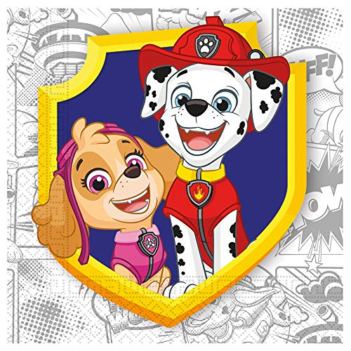 Procos 91668 - Servietten Paw Patrol, Yelb For Action, 33x33cm, 20 Stück, kompostierbar, Superhelden Tischdeko, Kindergeburtstag, Grillparty, Motto Party