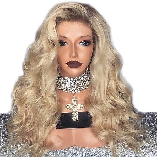 PKQ Mode Blonde Long Perruque Lace Frontal Naturel Longue Bouclée Synthetique Cheveux Perruques pour Femme Dentelle Frontale Postiche pour Cosplay Party DéguiseHommest ou Quotidien usage