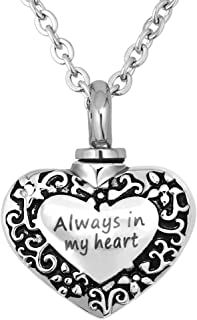 Always in My Heart Cremation Urn Necklace for Ashes Urn Jewelry Memorial Pendant with Fill Kit