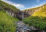 wandmotiv24 Fototapete Wasserfall Island L 300 x 210 cm - 6 Teile Fototapeten, Wandbild, Motivtapeten, Vlies-Tapeten Svartifoss, Basaltsäulenwasserfall, Sonnenaufgang M1041
