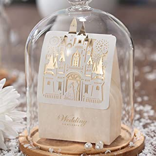 Jofanza 50x Laser Cut Wedding Favor Boxes 3D Fairy Gold Gilding Bride and Groom in Castle Candy Box Gift Chocolate Bag Paper Bags for Engagement Bridal Shower Anniversary Decoration CB5093