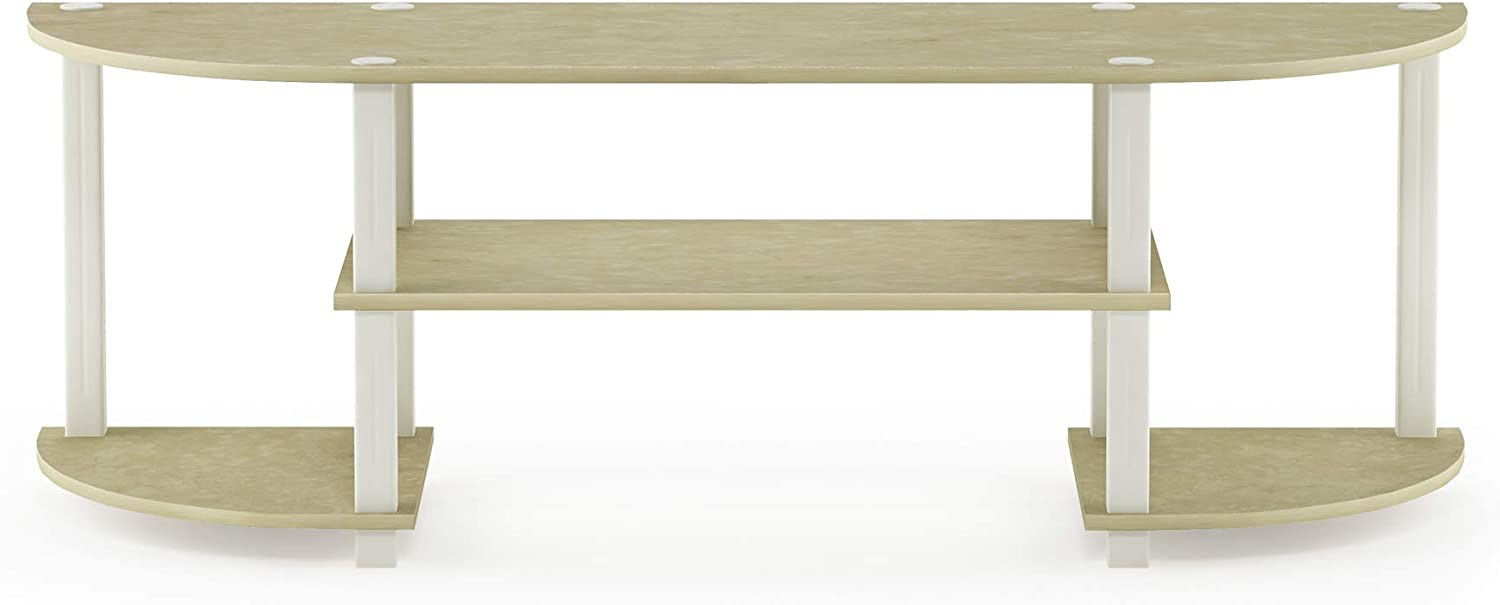 Furinno 11058CRM WH Turn-S-Tube Entertainment Center, Cream Faux Marble White