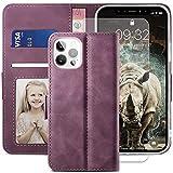 YATWIN Cover Compatibile con iPhone 12, Flip Custodia Portafoglio in Pelle Premium Slot per iPhone 12 Pro, Supporto Stand e Chiusura Magnetica Case per iPhone 12/12 Pro + Vetro Temperato - Vino Rosso