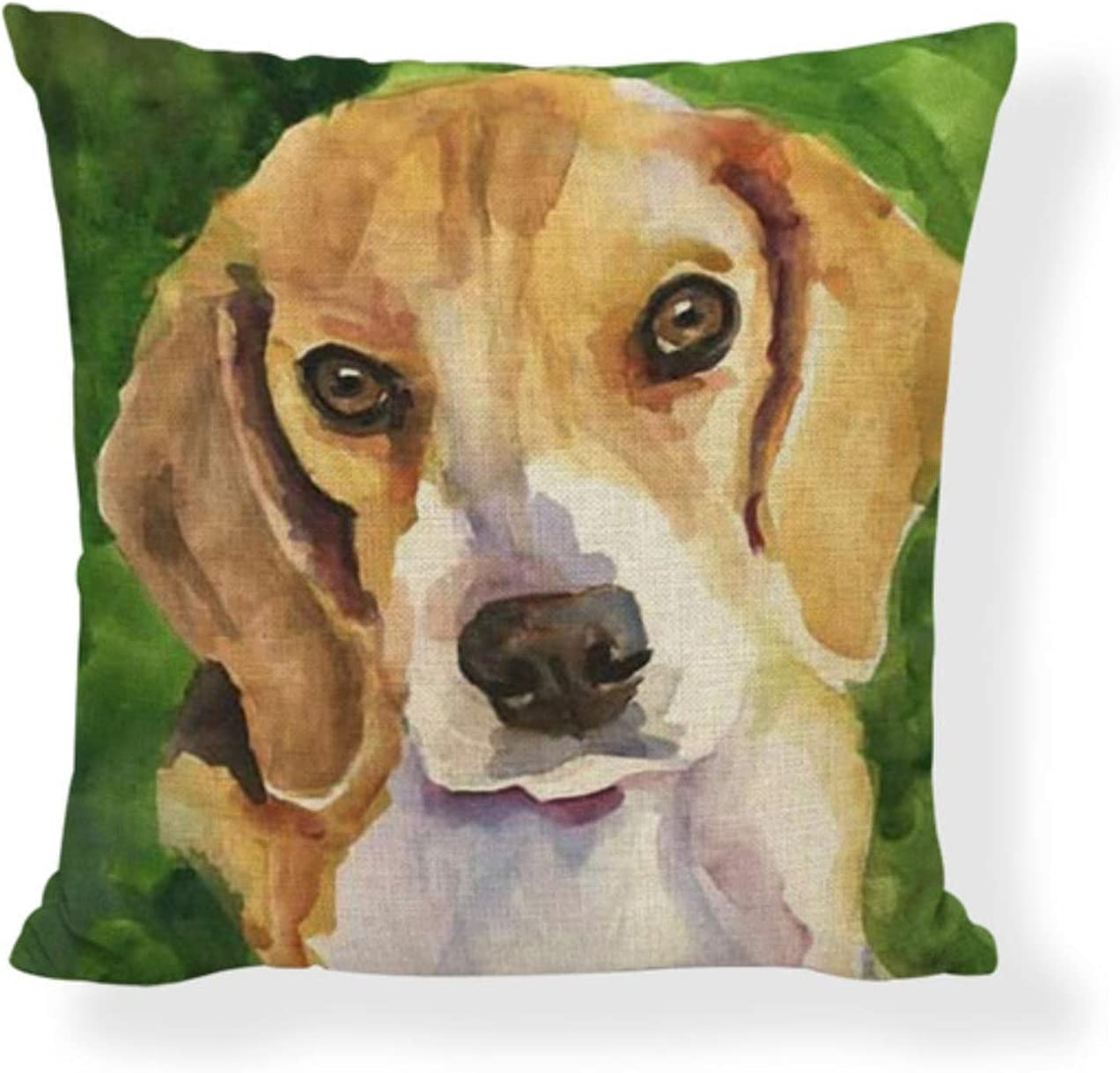 JimAndAlice Pintura al óleo Funda de cojín para Perro Golden Retriever 45 * 45 cm Bulldog francés Samoyedo Poodle Terrier Funda de Almohada decoración de la habitación del hogar