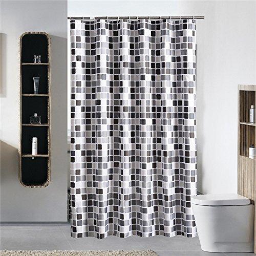 Gesh Schwarz-weiß-grau-karierter Duschvorhang aus Stoff, wasserdicht, schimmelfest, mit 12 Haken, Badvorhänge 200 x 200 cm