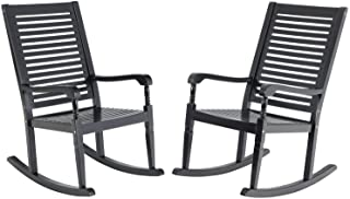 Sophia & William Outdoor Acacia Wood Rocking Chairs Set of 2 Black, Wooden Nantucket Rocking Chair for Porch, Patio, Garde...