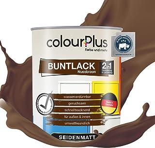 colourPlus 2in1 Buntlack 750ml, RAL 8011 Nussbraun seidenmatter Acryllack - Lack für Kinderspielzeug - Farbe für Holz - Holzfarbe innen - Made in Germany