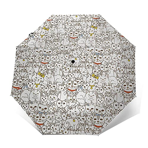 Paraguas Plegable Automático Impermeable Gatos Familia Animales Mejor Compañía, Paraguas De Viaje Compacto Prueba De Viento, Folding Umbrella, Dosel Reforzado, Mango Ergonómico