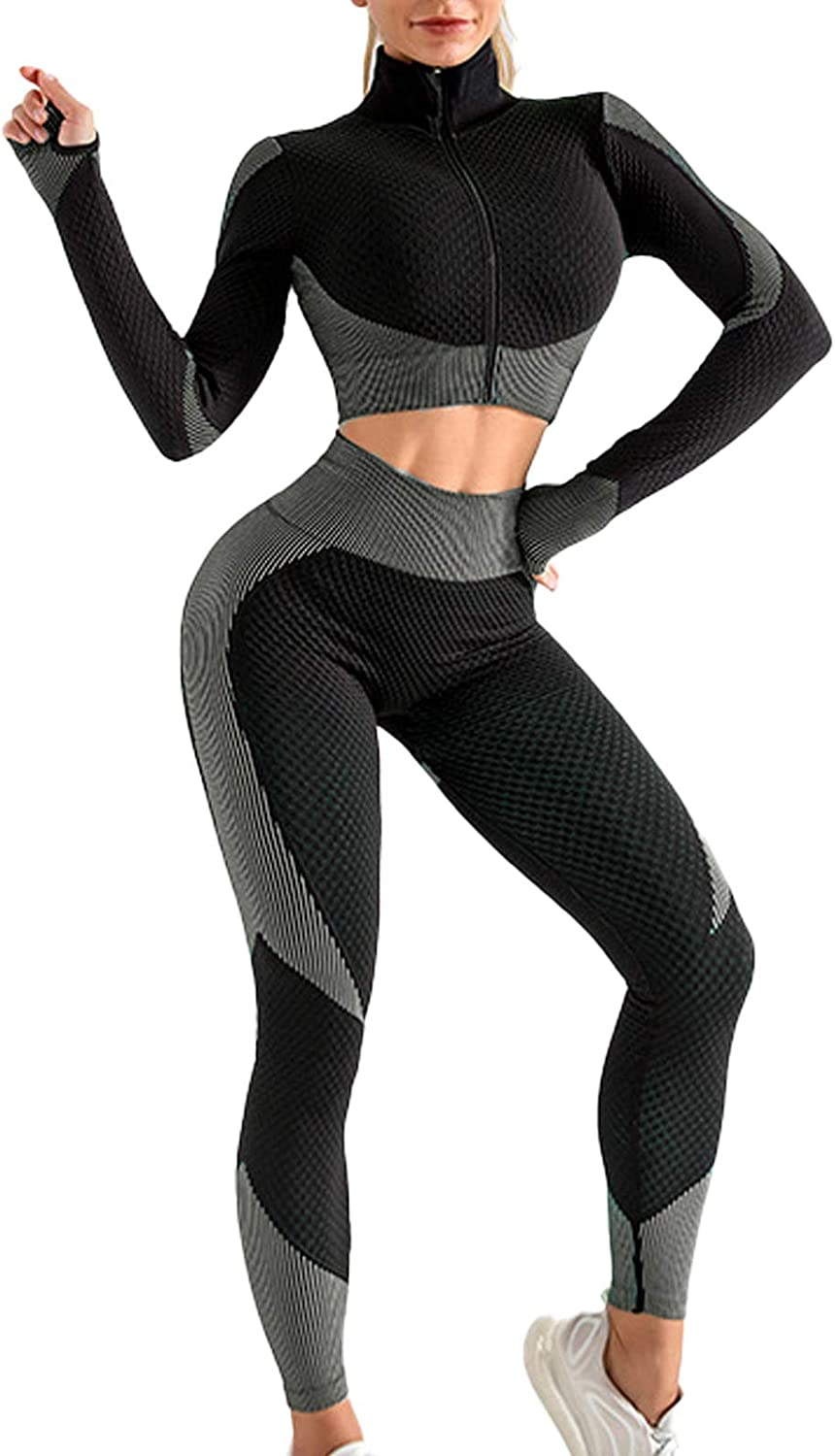 FAMITION Women's 2 PCS Yoga Sports Suit Long Sleeve Front Zip Top High Waist Seamless Yoga Leggings at  Women's Clothing store