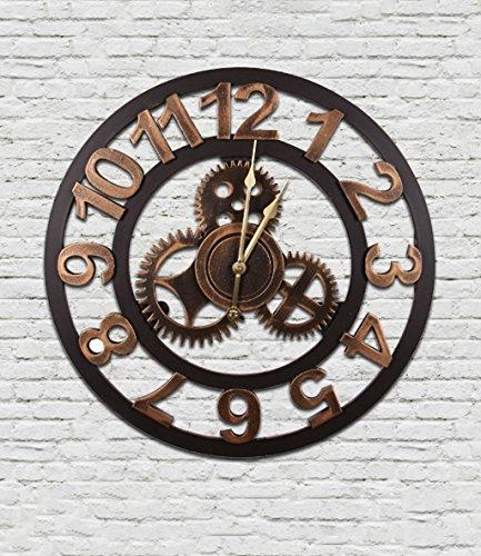 Rétro Industrial Wind Gears Horloges Et Montres Creative Accueil Horloge De Mur Doux Meubles Cafe personnalisé Horloge ( taille : F1-50cm )