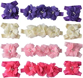 Qandsweet Baby Girl's Headbands and Crystal Barefoot Flowers Value Sets (4 Pack)