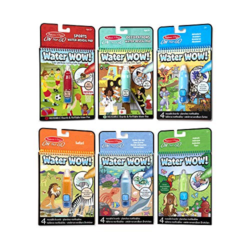 """Melissa & Doug On the Go Water Wow! Reusable Color with Water Activity Pad 6-Pack, Sports, Occupations, Adventure, Safari, Under the Sea, Animals, Chunky-Size Water Pens, 10"""" H x 6"""" W x 1.5"""" L"""