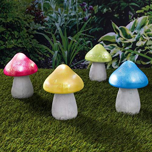 4x Solarleuchte Garten Dekoration Pilz 15 cm hoch - Farbwechsel - bunt - solarbetrieben - Fliegenpilz - 4er Set - Deko Aussen - Licht- Terasse - Balkon - Gartenleuchte - Gartenfigur - stehend - Solar