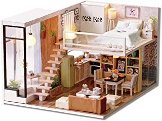 DIY Miniature Loft Dollhouse Kit Realistic Mini 3D Wooden House Room Toy with Furniture LED Lights Christmas Children's Da...