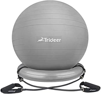 Trideer Exercise Stability Yoga Ball with Base & Resistance Bands