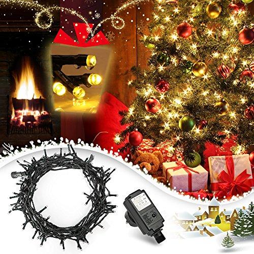 LED Lichterkette, 100er 10m Lichterketten Warmweiß mit Niedrigspannung, Weihnachtsbeleuchtung für die Innen- und Außendekoration und Halloween, Weihnachten, Hochzeit, Party und Haushalt Deko