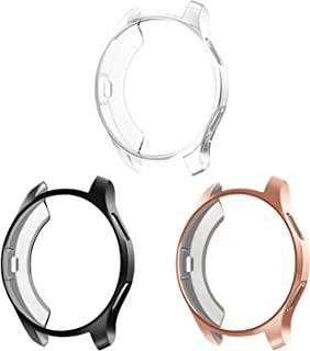 3 Pack - Fintie for Samsung Galaxy Watch 42mm case, Premium Soft TPU Slim Plated Case Screen Protector Bumper Shell Cover for Galaxy Watch 42mm SM-R810 Smartwatch, Black, Rose Gold, Clear
