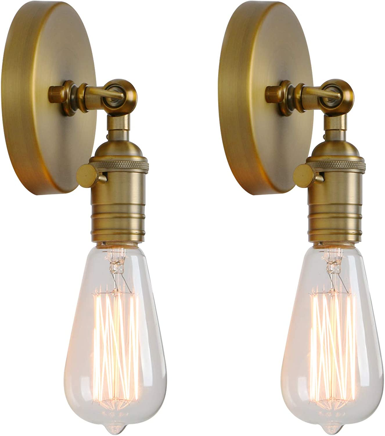 Permo Set of 2 Minimalist Single Socket Wall Sconce Lighting with On Off Switch (Antique)