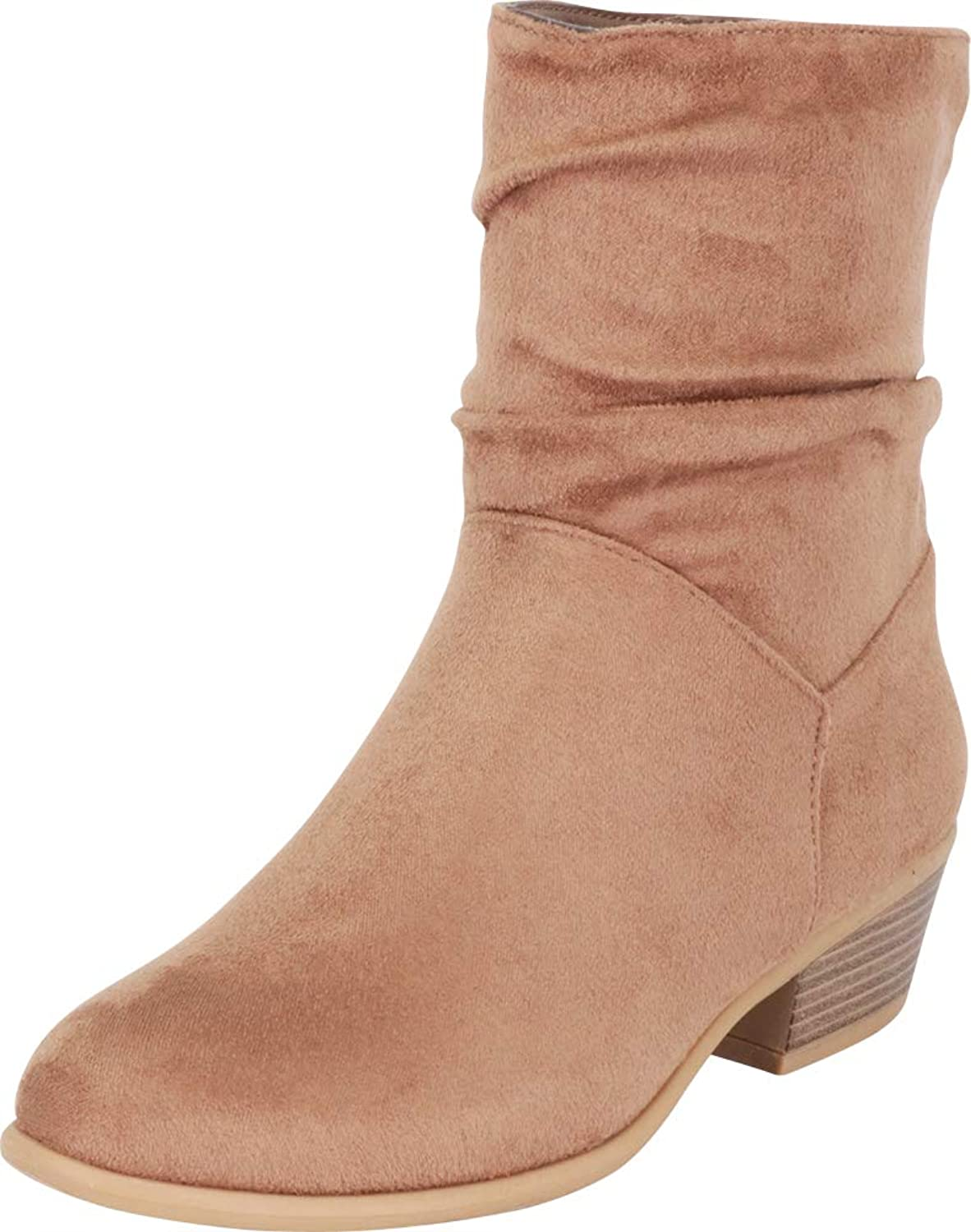 Cambridge Select Women's Ruched Slouch Chunky Stacked Heel Ankle Bootie