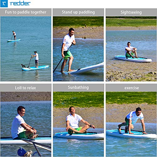 redder Inflatable Stand Up Paddle Board Rouge 9'0' Surf ISUP with Bravo SUP3 Double Action Hand Pump, 3 Piece Carbon & Fiberglass Paddle, 10' Leash, Portable Backpack and Repair Kit