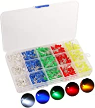 500pcs LED Diode Lights, KingSo 5 Colors×100pcs 5mm Light Emitting Diodes LED Assortment Kit Electronics Components, Diffused Round Light Bulb for Arduino, White Red Orange Green Blue