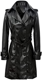 VearFit Women's Smarterious Long Coat Blazar Plus Size Real Sheep Leather Jacket