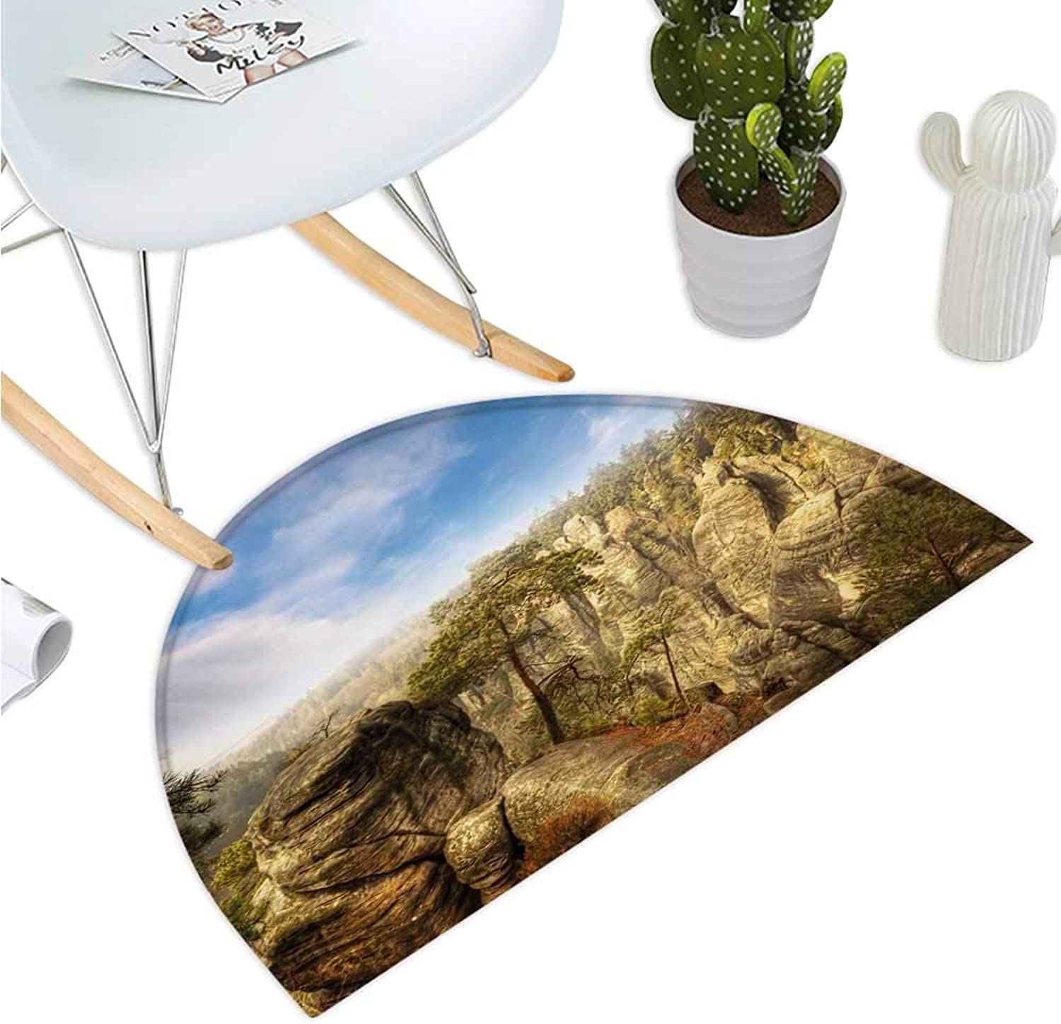 Nature Semicircular Cushion Wonders of The World National Park Rock Formation Czech Image Bathroom Mat H 39.3  xD 59  Sky bluee Tan Cream Olive Green