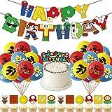 Decoracion Cumpleaños Super Mario Globos de Mario Feliz Cumpleaños del Pancarta Adorno de Torta para Niños Ducha de Bebé Fiesta de Cumpleaños
