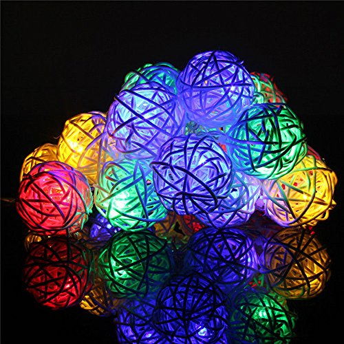 String Lights, LEEDY Unique 20 LED Rattan Ball Fairy Lights, Home Garden Decor Battery Lights Xmas Wedding Party Festival Stage Ambience Lamp, 3M