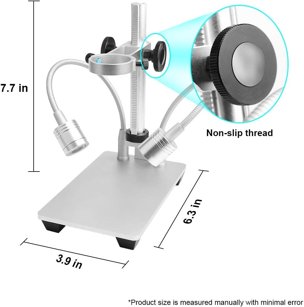 Aluminum Alloy Stand Holder for USB//Wi-Fi Digital Microscope Bysameyee Universal Diameter Metal Mount with Microscope Carrying Case No Light