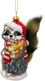 BestPysanky Raccoon Holding Squirrel Glass Christmas Ornament 4.75 Inches
