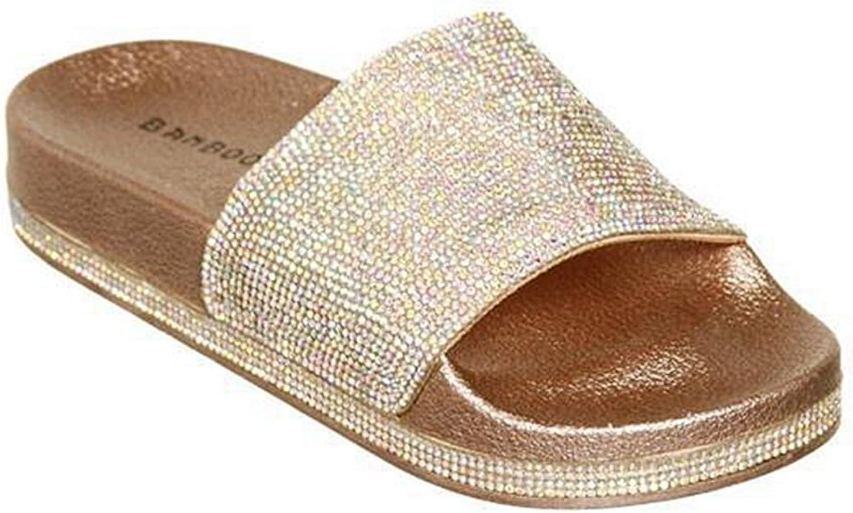 GIY Women's Bling Sparkly Star Slides Sandals Slip On Flat Sandals Soft Footbed Flatform Sandal Slippers