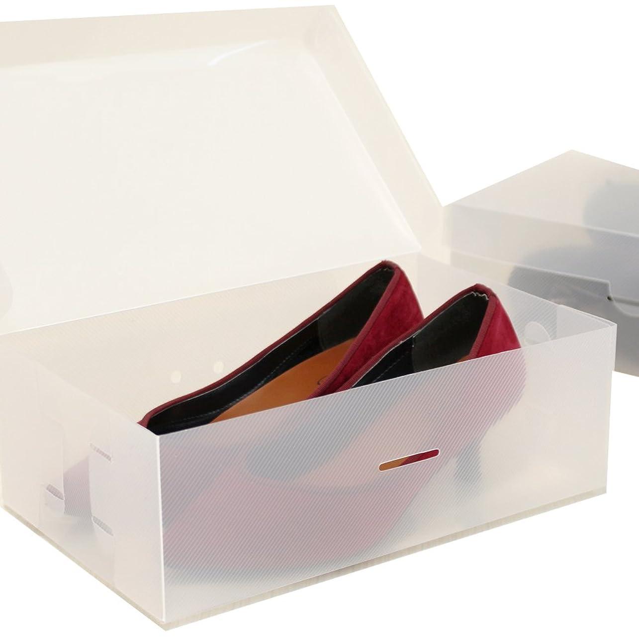 立派な制裁ブリードシューズボックス2箱入 女性用サイズ 透明クリアーケース 靴箱 収納 COMO STOCK