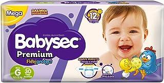 Fraldas descartáveis Babysec Premium Galinha Pintadinha Flexi Protect, 30 Unidades, Tamanho G 8,5 - 12 Kg