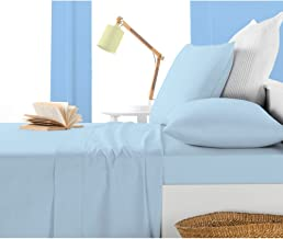 Joselinen 1 Piece Fitted Sheet 7 inches Deep Pocket Solid Pattern 400 Thread Count 100% Egyptian Cotton Available in 3 Different Sizes Queen/Twin/Twin XL & 26 Colors (Twin XL,Light Blue).