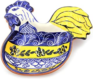 Hand-painted Vintage Traditional Portuguese Terracotta Rooster Olive Dish