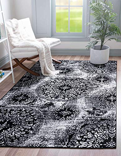 Unique Loom Sofia Traditional Area Rug, 4' 0 x 6' 0, Black