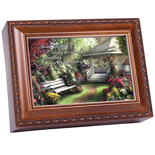 Cottage Garden Some People Make World Special Woodgrain Rope Trim Jewelry Music Box Plays Wonderful World
