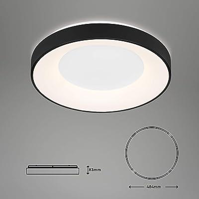 Briloner Leuchten - Plafonnier LED, plafonnier réglable, incl. télécommande, contrôle de la température de couleur, incl. veilleuse, fonction minuterie, 36 Watt, 3.600 Lumen, blanc/noir, Ø 48,4cm
