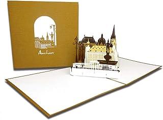 "Pop-Up Karte "" Aachen – Panorama mit Aachener Dom"", 3D"