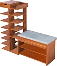 Kawachi Wooden Shoe Organiser Stand with Shoes Changing Seat Cushion, Storage Rack with Drawer KW24