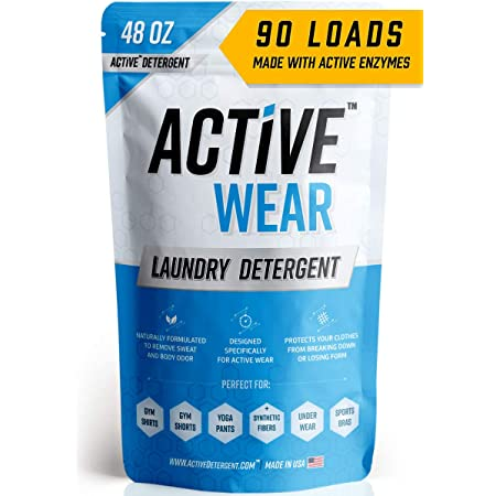 Active Wear Laundry Detergent - Formulated for Sweat and Workout Clothes - Natural Performance Wash Concentrate - Enzyme Booster Deodorizer - Powder Wash for Activewear Gym Apparel (90 Loads)