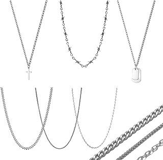 6pcs Necklace Set for Men,Emo Cuban Link Chain Egirl...