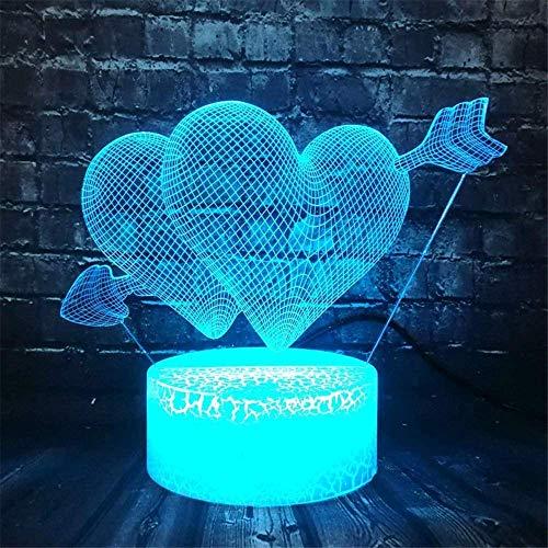 Lámpara de ilusión 3D Dulce Amante Corazón Globo Luz I Love You Safe of Baby Sleep 16 Cambio de Color Lustre Luz Noche Novia Amante Navidad Día de la Madre Juguete Niño (Doble Amor)