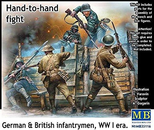 Masterbox Echelle 1 : 35 cm à la Main à la Main Lutte/Allemand Britannique et Fantassins/WWI Kit de Construction de Guerre (Gris)