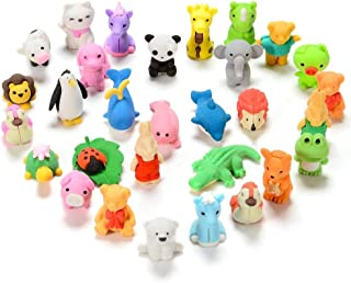 FunsLane 30 Pcs Japanese Animal Erasers Kids, Mini Puzzle Eraser Take Apart Toys, Kawaii Pencil Erasers Adorable Randomly Selected Zoo Animal Collection Set, Novelty Party Favors Educational Gift
