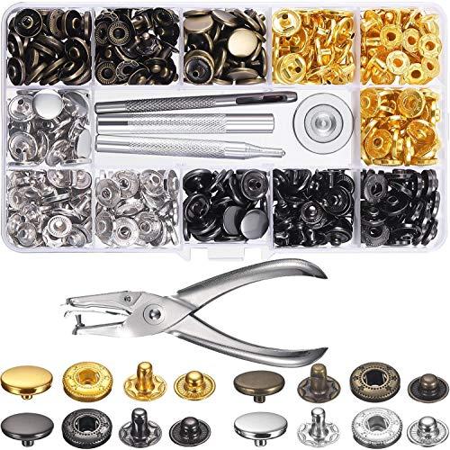 Botones Presion Metalicos -120Set Corchetes Presion Metal Artesanía Remaches Cuero Botones Automáticos Botones Metálicos Presión DIY Ropa Jeans con 5 Piezas de Herramientas de Instalación (12,5 mm)