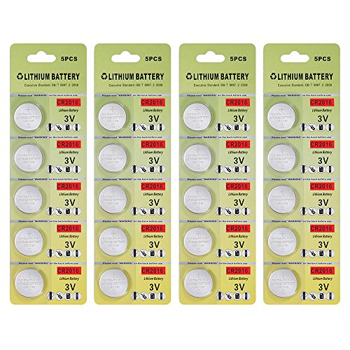 Fortune CR2016 3V Lithium Battery,Electronic Button Cell batteries for Toys Calculators Watches Led Light Candles (20 pcs)