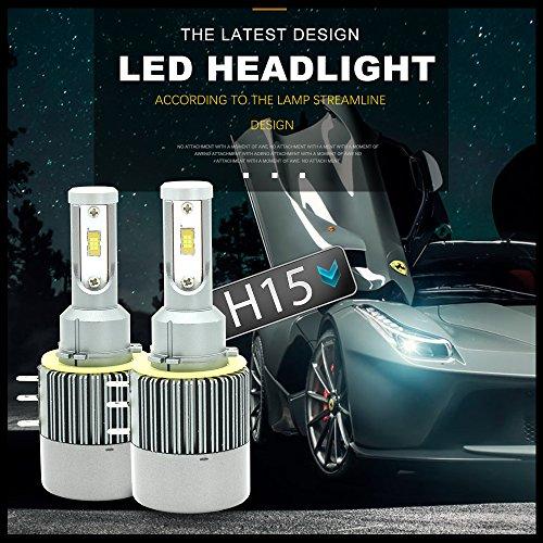 Kit testine H15 LED, Chip Seoul CSP da 110 W Kit conversione LED 12000LM H15 Lampadina faro Conversione Luce alogena Canbus 6500K 12V-36V